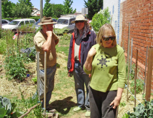 Maureen Corbett and friends from Relocalise Hepburn turn a vacant lot into a community garden.